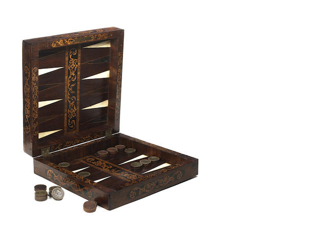 South German walnut backgammon/chess/nine men morris board/box, 17th century plus 21 South German pressed wood counters