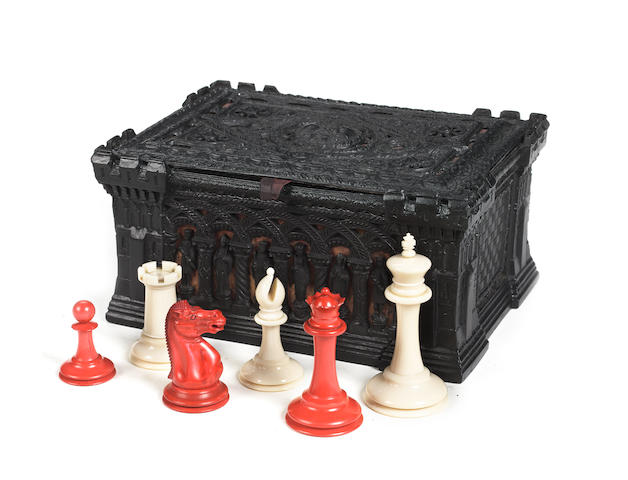 A Staunton ivory chess set, Jaques London, circa 1855/65,