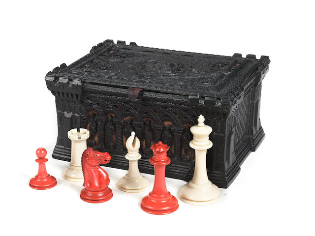 Staunton ivory chess set, Jaques 1855/65 with Cartonpierre box