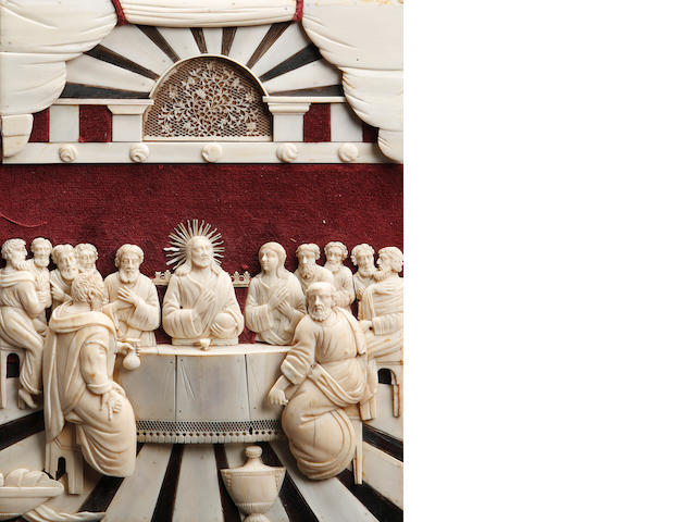 An 18th century Indo-Portuguese ivory relief depicting the Last Supper