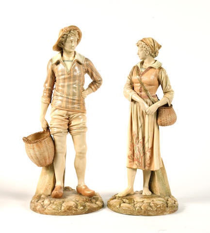 A pair of Royal Worcester porcelain blush ivory tall figures
