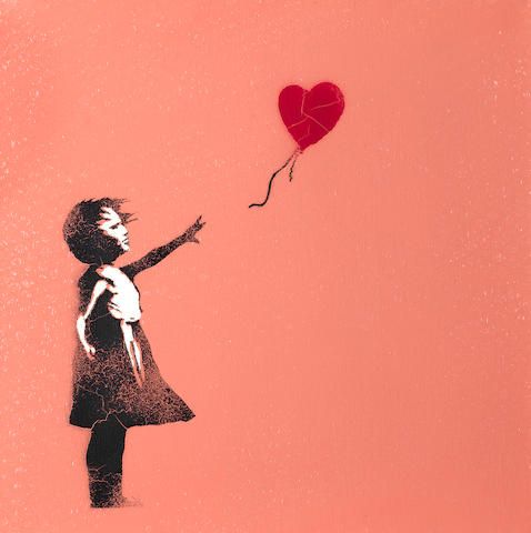Banksy (b.1975) Balloon Girl signed with spray paint on the overlap; signed, inscribed HAPPY ANNIVERSARY and dated 2005 on the stretcher spray paint on canvas 40.5 by 40.5 cm. 15 15/16 by 15 15/16 in.