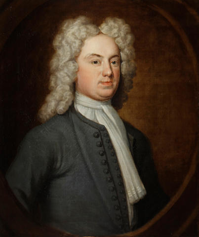 Circle of John Vanderbank (London 1694-1739) Portrait of a gentleman, said to be John Fidoe, half-length, in a grey coat and a white jabot,