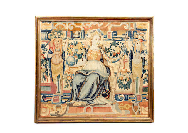A framed tapestry fragment, ContinentalLate 17th/early 18th Century