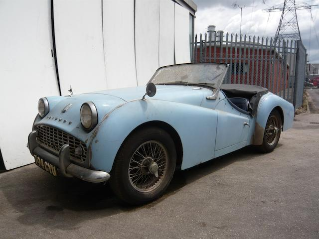 Property of a deceased's estate, left-hand drive,c.1960 Triumph TR3A Roadster  Chassis no. 9T346603L0 Engine no. T347269E