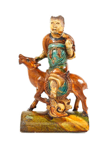 A Chinese roof tile in the form of an equestrian figure, Ming dynasty,