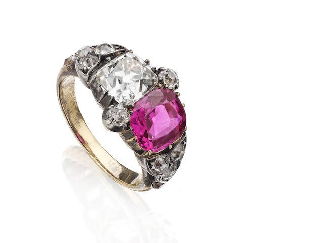 A 19th century pink sapphire and diamond ring