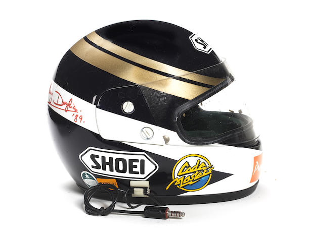 A Johnny Dumfries Shoei racing helmet, used during the Le Mans winning season of 1988,