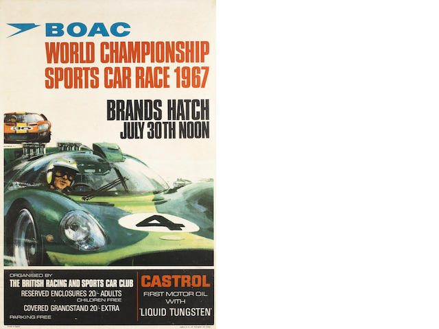 Michael Turner (1934-) original artwork from the 1967 BOAC World Championship event poster,