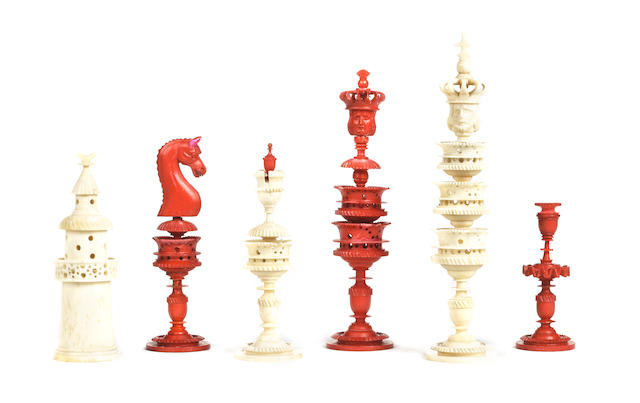 "A ""Selenus Pattern"" bone chess set, German, early/mid 19th century,"