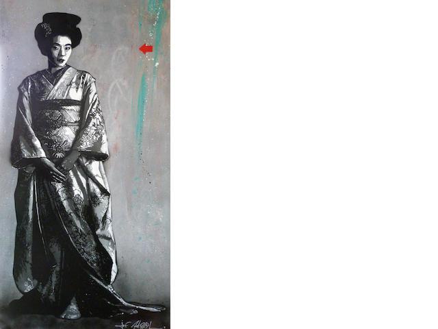 Jef Aérosol, Geisha, Stencil and mixt technics, 97x195cm