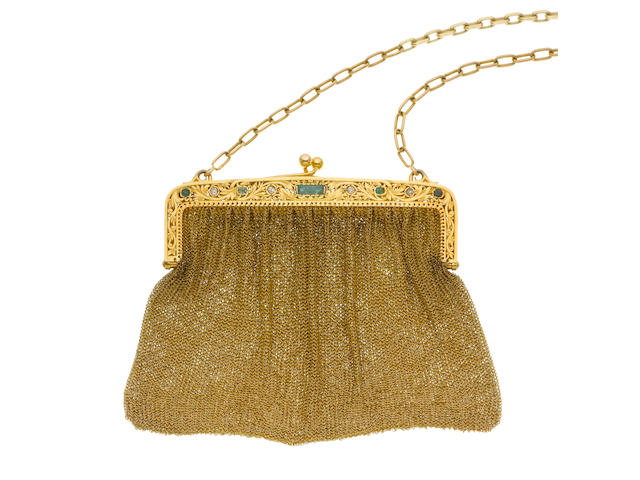 An emerald and diamond-set evening bag (illustrated above)