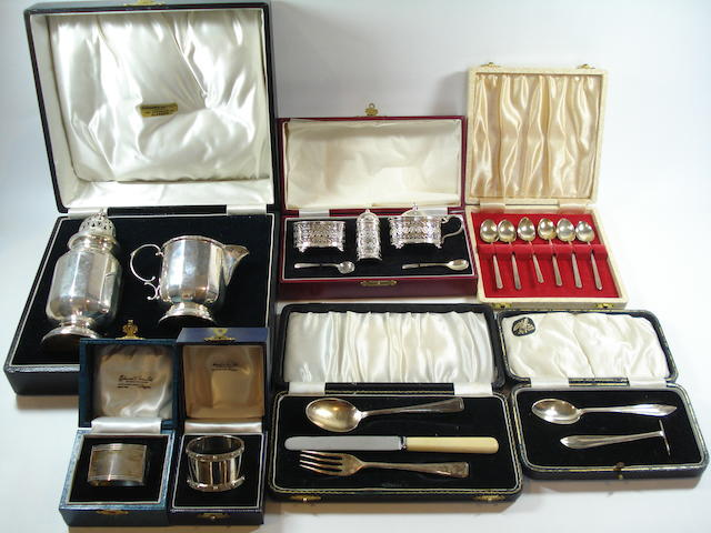 A quantity of cased silver Various makers and dates  (Qty)