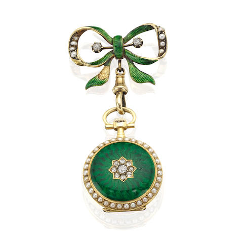 An enamel, pearl and diamond open faced fob watch, Continental