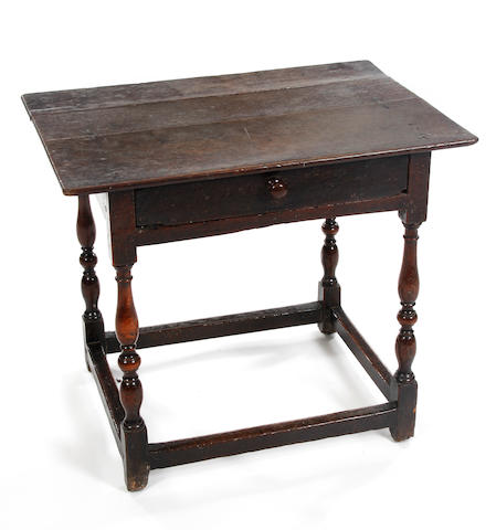An oak and beech side table, circa 1700