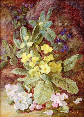 Vincent Clare (British, 1855-1930) Primroses, violets and apple blossom on a mossy bank
