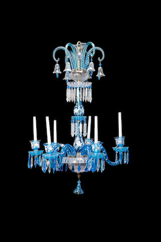 A late 19th/early 20th century Venetian cut blue and clear glass six light chandelier