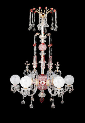 A large 19th century Venetian cut and ruby glass six light chandelier