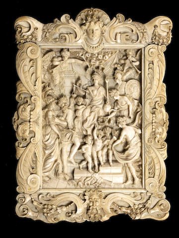 A 19th century Dieppe ivory relief of The Felicity of the Regency of Marie de' Mediciafter Sir Peter Paul Rubens