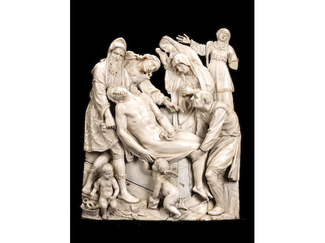 A 19th century panel after a German (probably Ulm) relief of the Deposition by Georg Petel