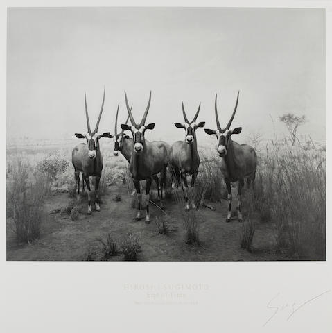 Hiroshi Sugimoto (Japanese, born 1948) Gemsbok, ('End of Time' exhibition poster) Lithographic poster, 2005, signed in pencil, published in conjuction to the exhibition at Mori Art Museum, with wide margins, together with another two exhibition posters for 'History of History', 700 x 700mm (27 5/8 x 27 5/8in)(SH)(unframed)(3)