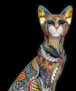 David Burnham Smith 'Oriental Cat' a Large Painted and Gilded Porcelain Model, 2011