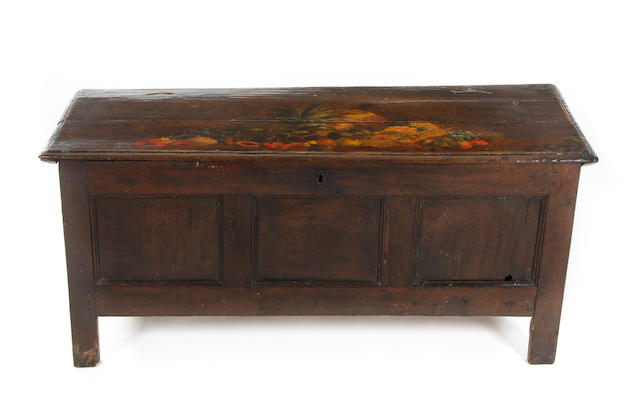 An early 18th Century oak coffer With later decoration