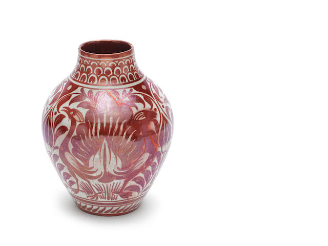 William De Morgan a Ruby Lustre Vase with Exotic Birds, circa 1890