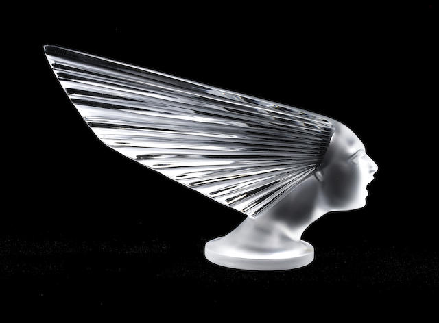 A post-War 'Victoire' glass mascot, by Lalique, France,