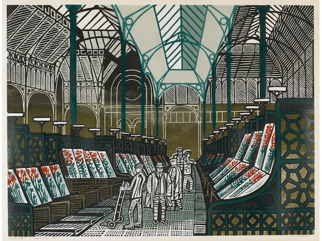 Edward Bawden R.A. (British, 1903-1989) The Floral Hall, Covent Garden (MG 80) Linocut printed in colours, 1967, on wove, signed, titled, inscribed 'Artist's Proof' and numbered 68/75 in pen, printed by Curwen Studio, London, published by the artist, 458 x 608mm (18 x 23 4/5in)(I)