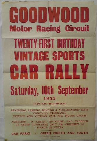 A Goodwood Motor Racing Circuit 'Twenty-first Birthday Vintage Sports Car Rally' poster, 1955,