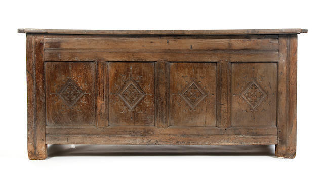 A large Charles II oak coffer