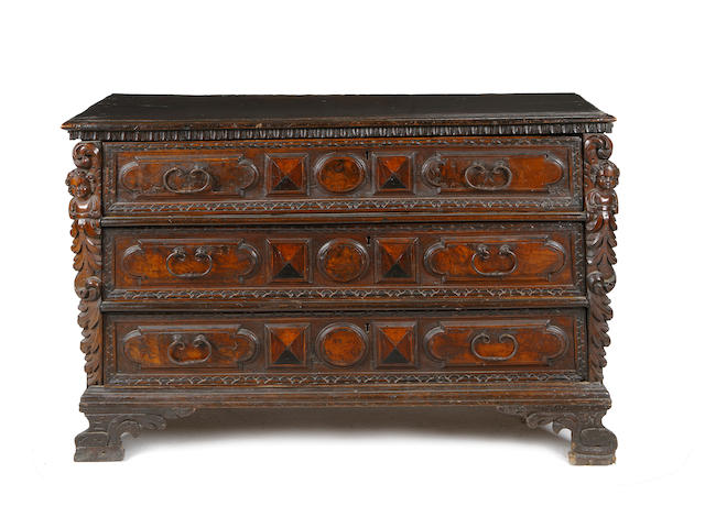 An Italian late 17th Century and later walnut and ebony inlaid chest
