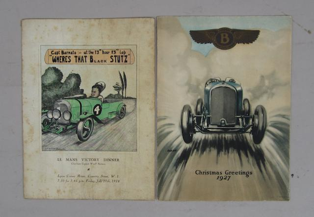 A Bentley Le Mans victory dinner menu, Friday July 27th 1928,