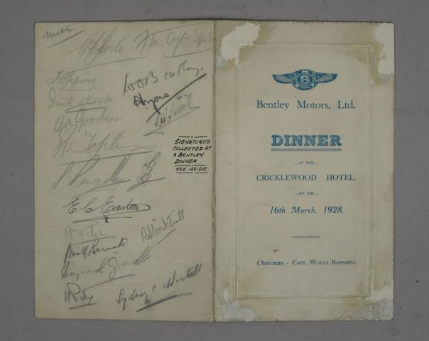 A multiple signed Bentley Motors Ltd. dinner menu