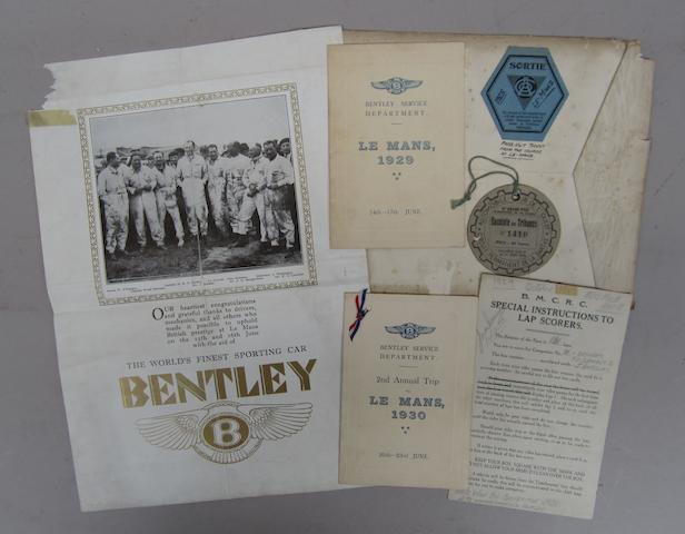Five items of vintage Bentley ephemera,