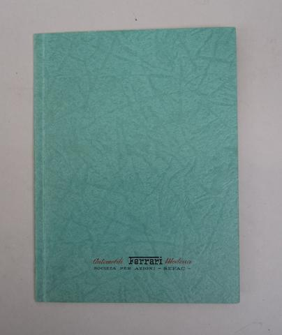A Ferrari Automobili Modena authorised sales and service agents' booklet