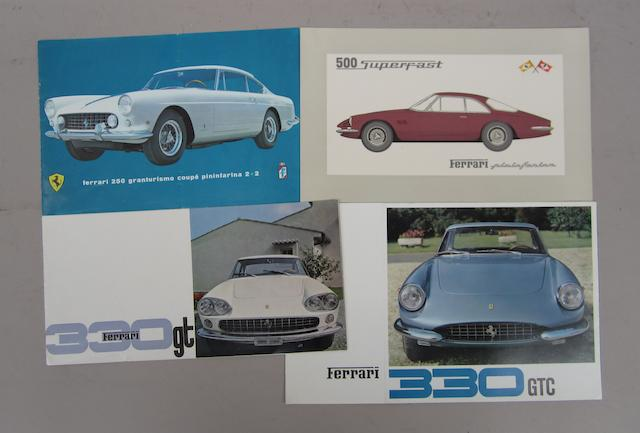 Three Ferrari sales brochures for 250 and 330GT models,