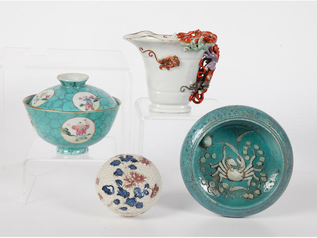 A group of Chinese Export wares comprising two circular boxes and covers, a libation ewer and a bowl.