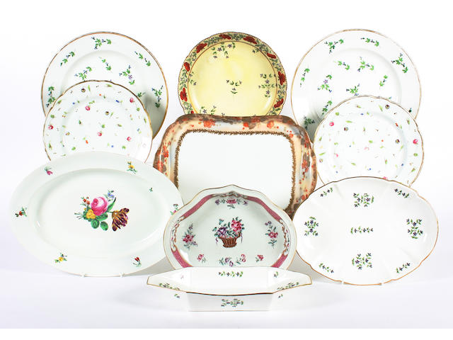 A group of continental porcelain dessert and dinner wares, 19th century