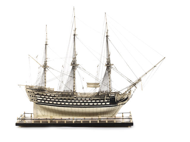 A large late 20th century bone and baleen Prisoner of War style model of a First Rate ship,  38x13x29.5ins. (96.5x33x75cm)