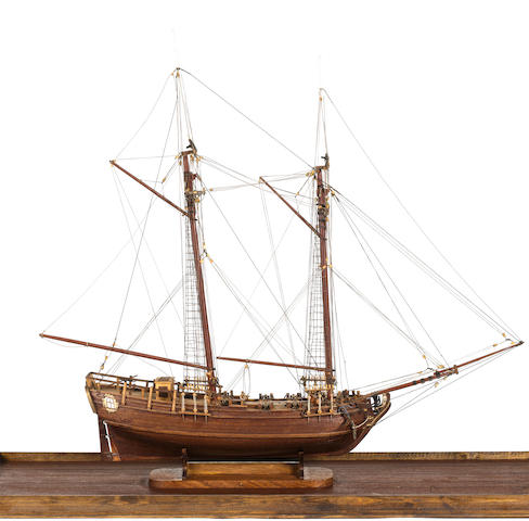 A Model of an 18th century 6 gun schooner. 33.5x13.5x30ins. (85x34x76cm)