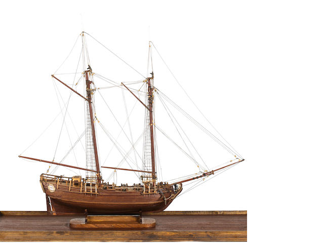 A Model of an 18th century 6 gun schooner. 33.5x13.5x30in. (85x34x76cm)