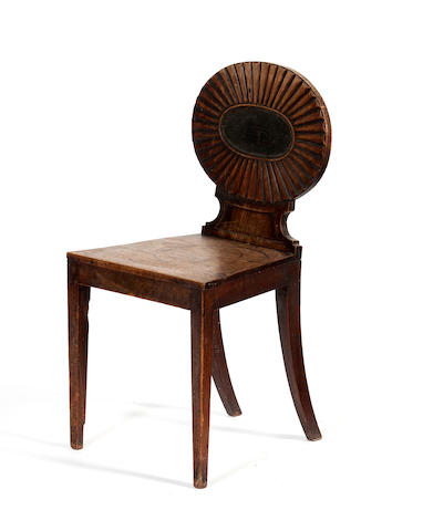 A George III mahogany hall chair