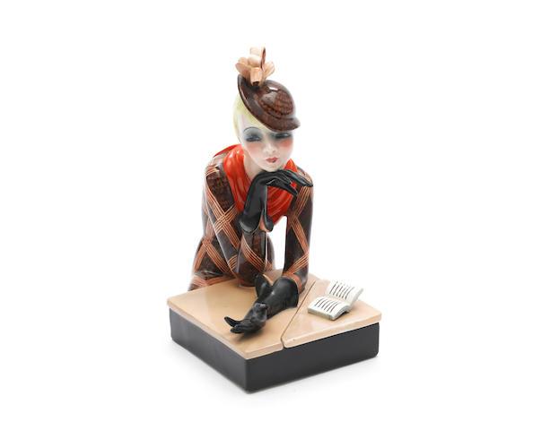 Helen König Scavini for Lenci 'Al Caffe' A Polychrome Pottery Figural Box, 1932