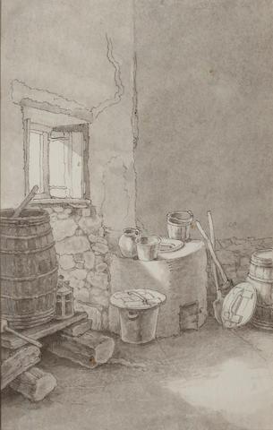 John White Abbott (British, 1763-died circa 1851) A kitchen interior