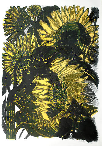 John Bratby R.A. (British, 1928-1992) Sunflowers II coloured lithograph signed in pencil 'John Bratby' (lower right) numbered 9/75 79.5 x 57 cm., including margins