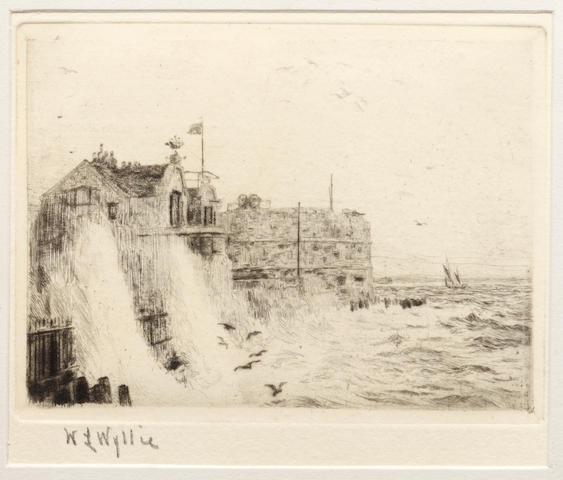 William Lionel Wyllie (British, 1851-1931) Gunwharf, Portsmouth signed in pencil (lower left) etching 9 x 10cm together with another similar by the same artist. (2)