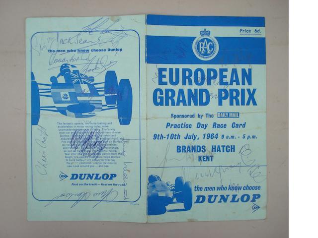 European Grand Prix Practice Day Race Card