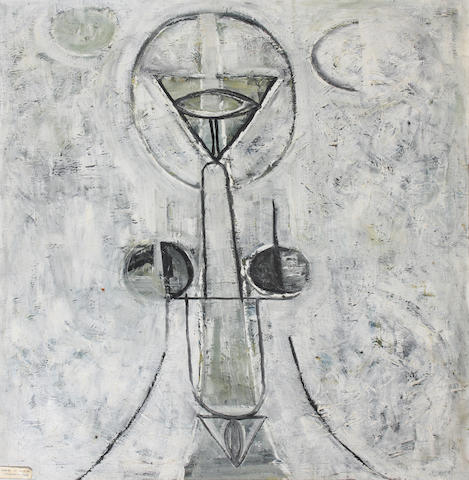 Avinash Chandra (Indian, 1931-1991) 'Figure in a City' 83.5 x 68.5cm.